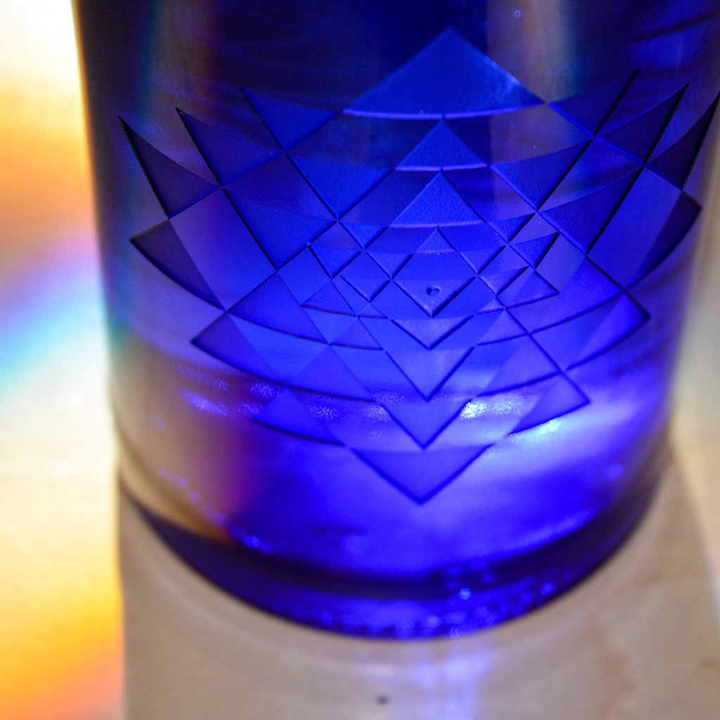 Sri Yantra Blue Bottle Love